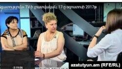 Анаит Манукян (справа) и Карине Шахвердян в студии «Азатутюн ТВ», Ереван, 17 августа 2017 г․