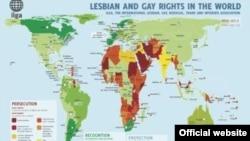 Карта, отражающая ситуацию с соблюдением прав сексуальных меньшинств в мире, предоставленная Международной ассоциацией лесбиянок и геев (ILGA)