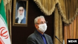 Iran--Iranian government spokesman Ali Rabiei speaks during a news conference in the capital Tehran