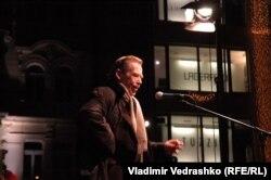 Вацлав Гавел, бывший президент Чехии, выступает на центральной Площади имени князя Вацлава в в Праге.