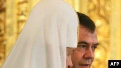 Patriarch Kirill and President Dmitry Medvedev in the Kremlin.