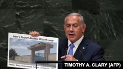 Israeli Prime Minister Benjamin Netanyahu Prime addresses the General Assembly at the United Nations in New York September 27, 2018.