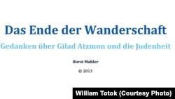 Coperta cărţii antisemite a lui Horst Mahler (Sfîrşitul călătoriei)