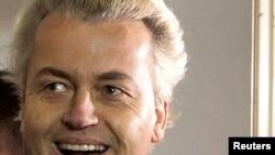 Geert Wilders leaves the courtroom in Amsterdam on June 23.