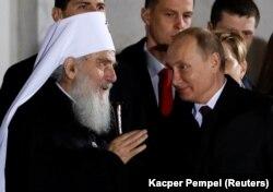 Patrijarh SPC Irinej i predsednik Rusije Vladimir Putin tokom Putinove posete Beogradu i Hramu Svetog Save, 17. januar 2019.