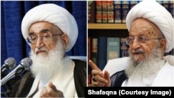 Iran's Grand Ayatollah Naser Makarem Shirazi (R) and Grand Ayatollah Hossein Noori Hamedani. Undated