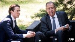 Себастьян Курц и глава МИД России Сергей Лавров на переговорах по Украине под эгидой ОБСЕ, май 2017 года