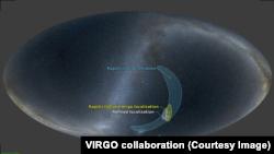 Локализация источника сигнала при детектировании только LIGO и LIGO и VIRGO вместе