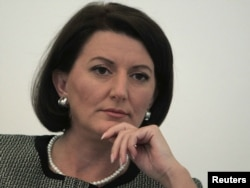 Kosovo president Atifete Jahjaga, shown here at Forum 2000, stopped by RFE headquarters to meet with the radio's Balkans Service.