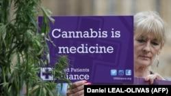 """Акция в поддержку легалицации каннабиса в лекарственных целях в Лондоне. Надпись на плакате: """"Каннабис – это лекарство"""""""