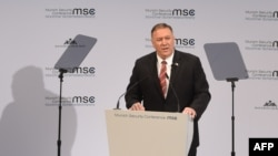 U.S. Secretary of State Mike Pompeo speaks at the Munich Security Conference on February 15.