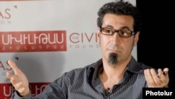 Serj Tankian addresses civil society representatives in Yerevan on August 15.
