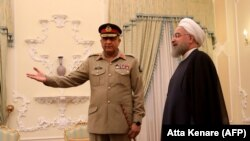 Iranian President Hassan Rouhani meets with Pakistani Army Chief General Qamar Javed Bajwa in Tehran, November 6, 2017
