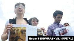 Протестующие журналисты в Тбилиси