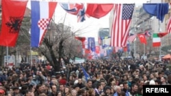 A crowd in Pristina celebrates the second anniversary of Kosovo's declaration of independence in February.