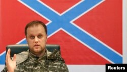 Павел Губараў на прэс-канфэрэнцыі ў Данецку 9 ліпеня 2014 году