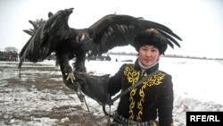 Бүркітші қазақ қызы Мақпал Әбдіразақова. Алматы облысы, ақпан, 2009 жыл.
