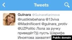 Гүлнара Каримованың Twitter-дегі парақшасы.