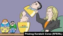 Serbiýaly Predrag Koraksiç Koraksyň çeken karikaturasy.