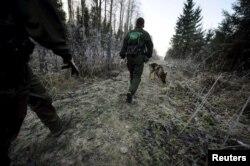 Финский пограничный патруль на одном из участков границы с Россией