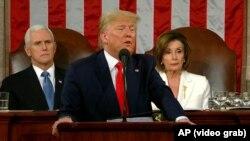 Дональд Трамп выступает с ежегодным посланием о положении страны на совместной сессии Конгресса США в Вашингтоне, 4 февраля 2020 года