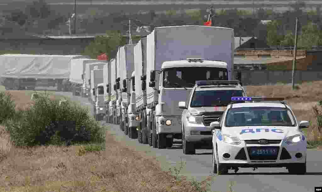 """Российский гуманитарный """"конвой"""" по дороге к границе Украины"""