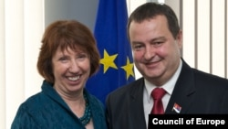EU foreign policy chief Catherine Ashton meets with Serbia's Prime Minister Ivica Dacic in Brussels on October 19.