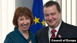 Catherine Ashton dhe Ivica Daçiq në takimin e djeshëm në Bruksel