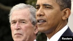 "The report focused mostly on the presidency of George W. Bush (left) but also criticized President Barack Obama's administration for what it called ""excessive secrecy."""