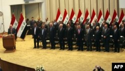 Yragyň parlamentiniň spikeri Osama al-Nujaifi ses berişlikden soň parlamentde çykyş edýär. 21-nji dekabr, 2010.