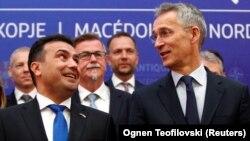 North Macedonian Prime Minister Zoran Zaev (left) and NATO Secretary-General Jens Stoltenberg speak in Skopje on June 3.