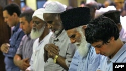 Muslims pray at the Dar Al-Hijrah Islamic Center in Falls Church, Virginia, in August.