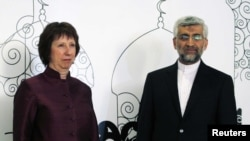 European Union foreign policy chief Catherine Ashton (left) and Iran's chief nuclear negotiator Saeed Jalili at a meeting in Baghdad earlier this year.