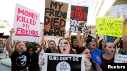Pamje të protestave në SHBA, në të cilat është kërkuar ligj më i rreptë për kontrollin e armëve, foto nga arkivi.