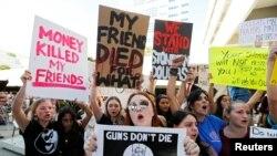 Акция за ужесточение контроля за оружием. Флорида, 17 февраля 2018 года.