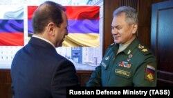 RUSSIA -- Russian Defense Minister Sergei Shoygu (R) and his Armenian counterpart David Tonoyan meet in Moscow, February 8, 2019