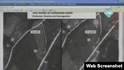 Zračna snimka masovnih grobnica prikazana na suđenju Radovanu Karadžiću, 11. siječanj 2012.