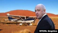 Евгений Пригожин в пустыне и самолет, коллаж