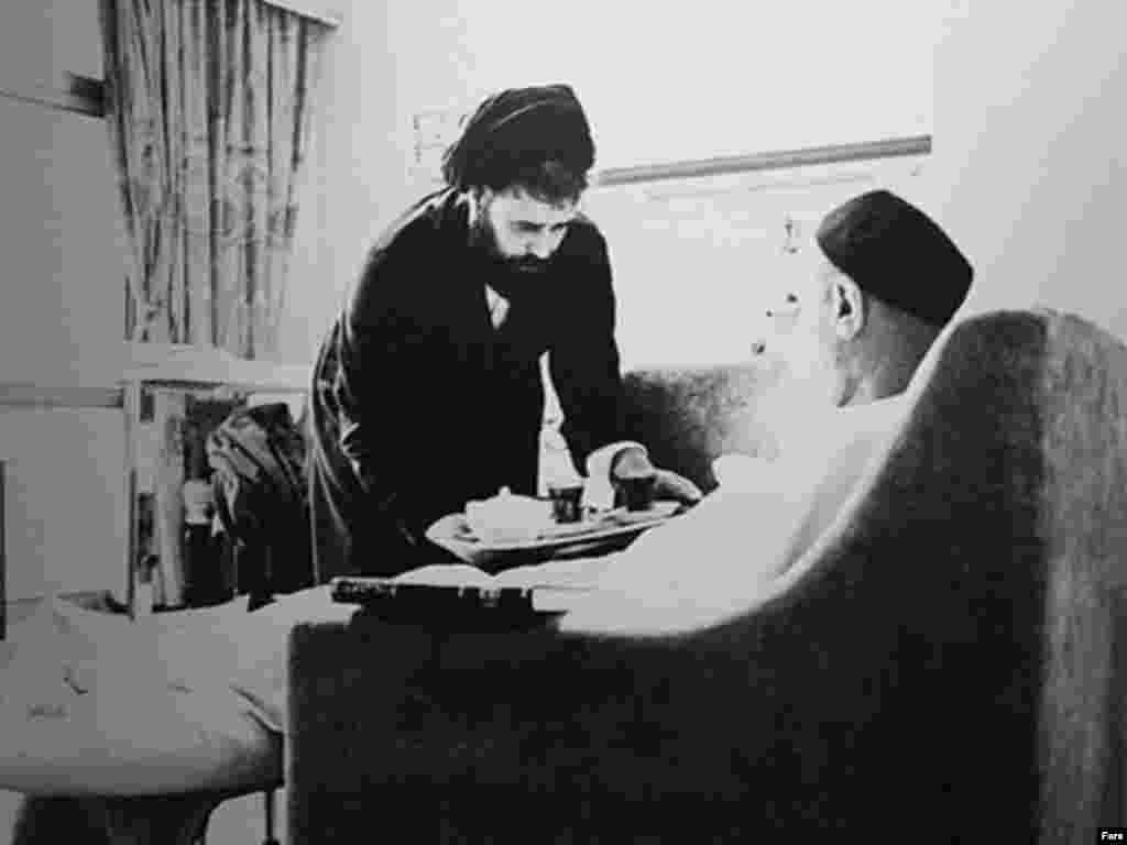 Ayatollah Ruhollah Khomeini and his son Seyed Ahmad Khomeini