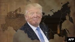 Дональд Трамп і мапа Росії, комбіноване фото