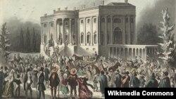 Толпа перед Белым домом в день инаугурации президента Эндрю Джексона, 4 марта 1829 года. Литография из коллекции Библиотеки Конгресса
