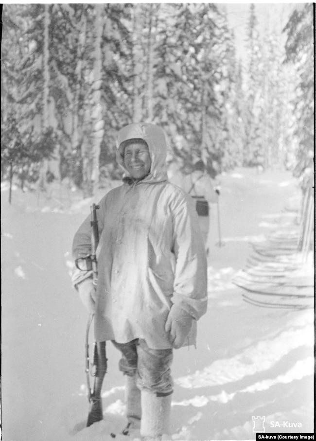 "Simo Hayha, a Finnish sniper dubbed ""White Death."""