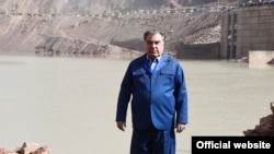 Tajik President Emomali Rahmon at the site of the Rogun Dam on October 29.