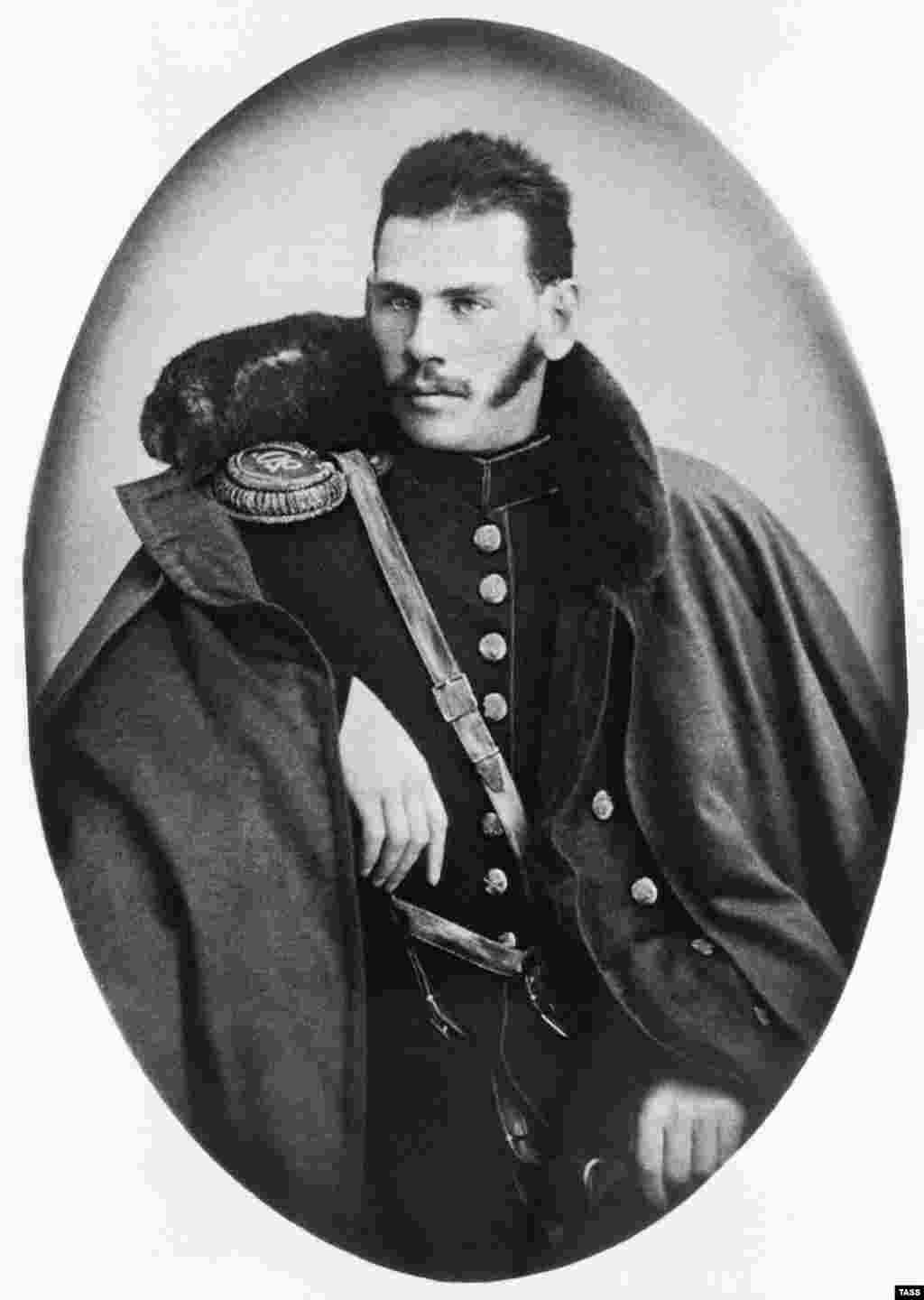 Tolstoy in military uniform in 1854. After several youthful years of gambling, drinking, and chasing girls, Tolstoy joined the tsar's army. He served with distinction in the Caucasus and the Crimean War, which was ongoing when this photo was taken.