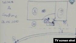 Svjedokova skica skladišta u Kravici