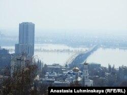 Саратовский мост через Волгу, вид сверху