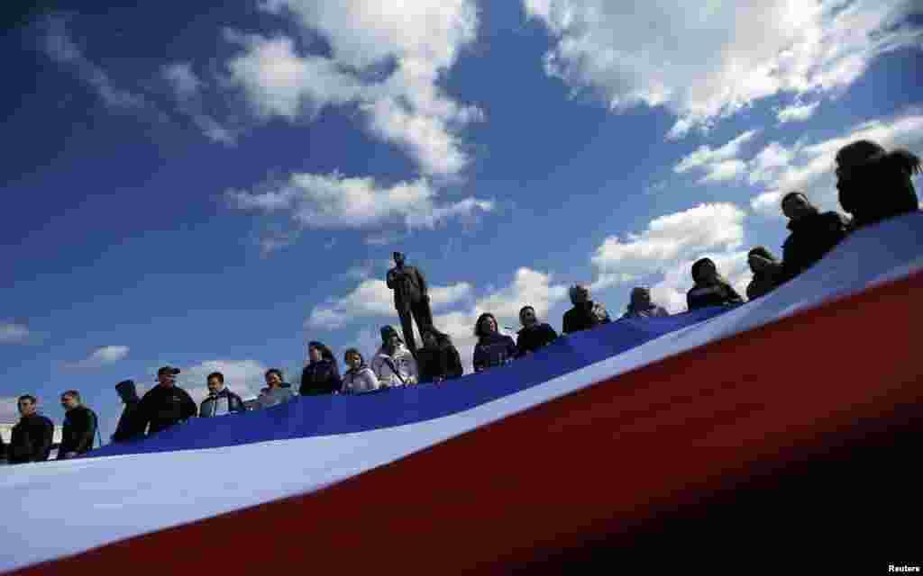 Крымский флаг в центре Симферополя