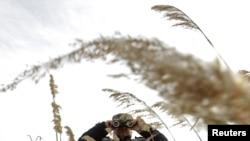 Un grănicer român supraveghează granița cu Republica Moldova