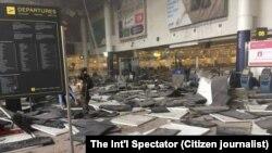 Aeroporti i dëmtuar i Brukselit, pas sulmeve, 22 mars 2016