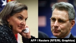 A recording of a phone call posted on YouTube seems to provide details of a diplomatically sensitive conversation between U.S. Assistant Secretary of State Victoria Nuland (left) and U.S. Ambassador to Ukraine Geoffrey Pyatt (right).